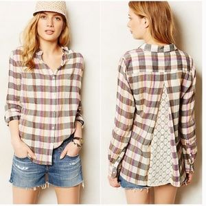 Anthropologie Isabella Sinclair plaid top lace